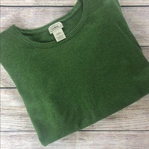L. L. Bean Olive Green Short Sleeve Sweater
